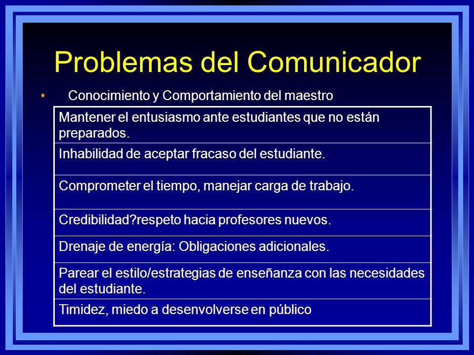 Problemas del Comunicador Conocimiento y Comportamiento del maestro. Mantener el entusiasmo ante estudiantes que no están preparados. Inhabilidad de a