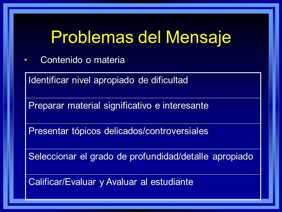 Problemas del Mensaje Contenido o materia Identificar nivel apropiado de dificultad Preparar material significativo e interesante Presentar tópicos de