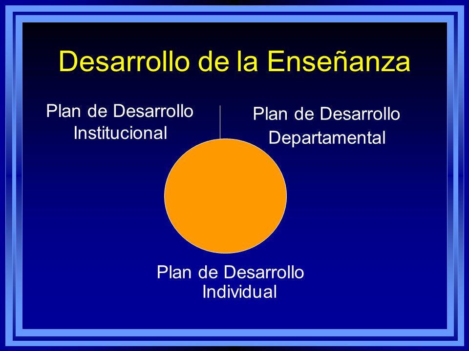 Desarrollo de la Enseñanza Plan de Desarrollo Institucional Plan de Desarrollo Departamental Plan de Desarrollo Individual