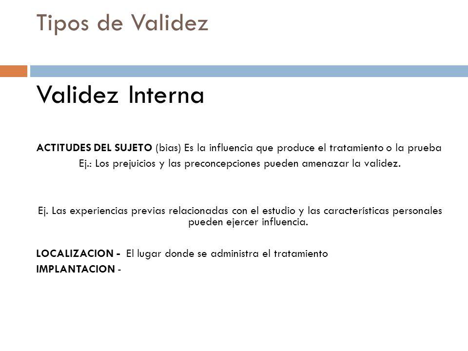 Tipos de Validez Validez Interna ACTITUDES DEL SUJETO (bias) Es la influencia que produce el tratamiento o la prueba Ej.: Los prejuicios y las preconc