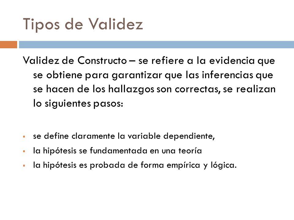 Tipos de Validez Validez de Constructo – se refiere a la evidencia que se obtiene para garantizar que las inferencias que se hacen de los hallazgos so