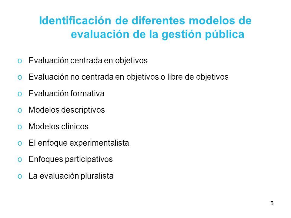 5 Identificación de diferentes modelos de evaluación de la gestión pública oEvaluación centrada en objetivos oEvaluación no centrada en objetivos o li