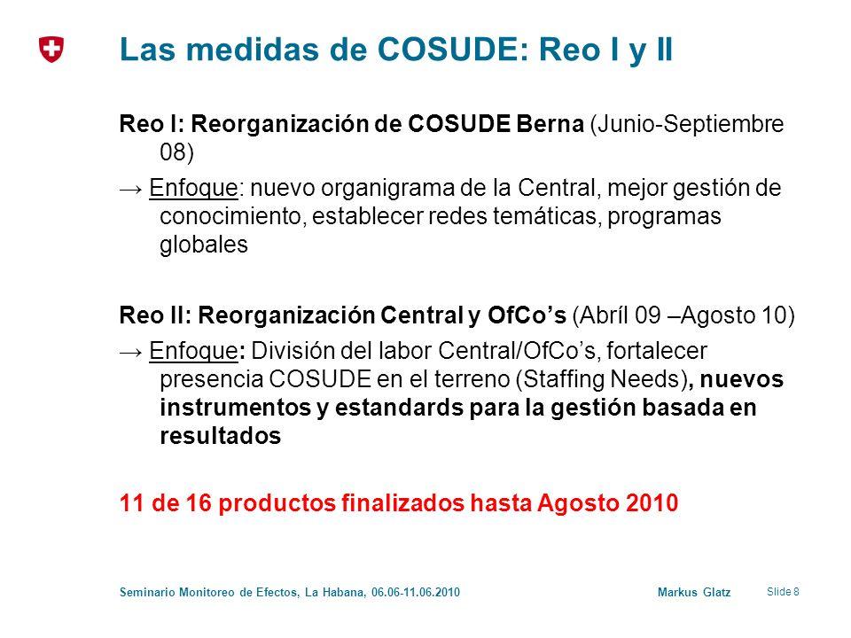 Slide 8 Seminario Monitoreo de Efectos, La Habana, 06.06-11.06.2010 Markus Glatz Las medidas de COSUDE: Reo I y II Reo I: Reorganización de COSUDE Berna (Junio-Septiembre 08) Enfoque: nuevo organigrama de la Central, mejor gestión de conocimiento, establecer redes temáticas, programas globales Reo II: Reorganización Central y OfCos (Abríl 09 –Agosto 10) Enfoque: División del labor Central/OfCos, fortalecer presencia COSUDE en el terreno (Staffing Needs), nuevos instrumentos y estandards para la gestión basada en resultados 11 de 16 productos finalizados hasta Agosto 2010