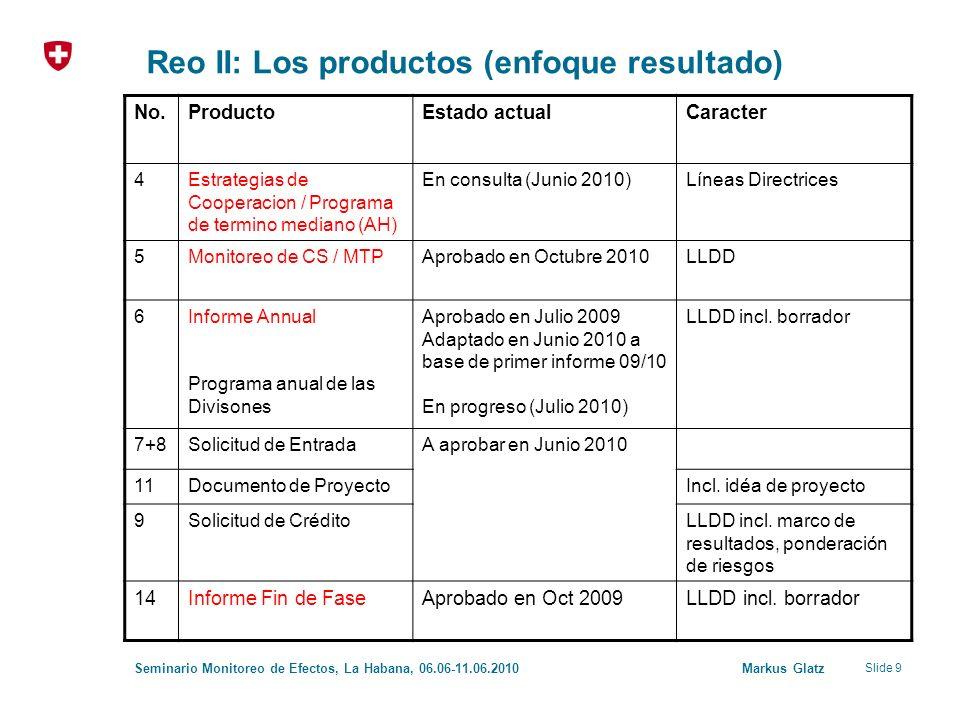 Slide 9 Seminario Monitoreo de Efectos, La Habana, 06.06-11.06.2010 Markus Glatz Reo II: Los productos (enfoque resultado) No.ProductoEstado actualCar