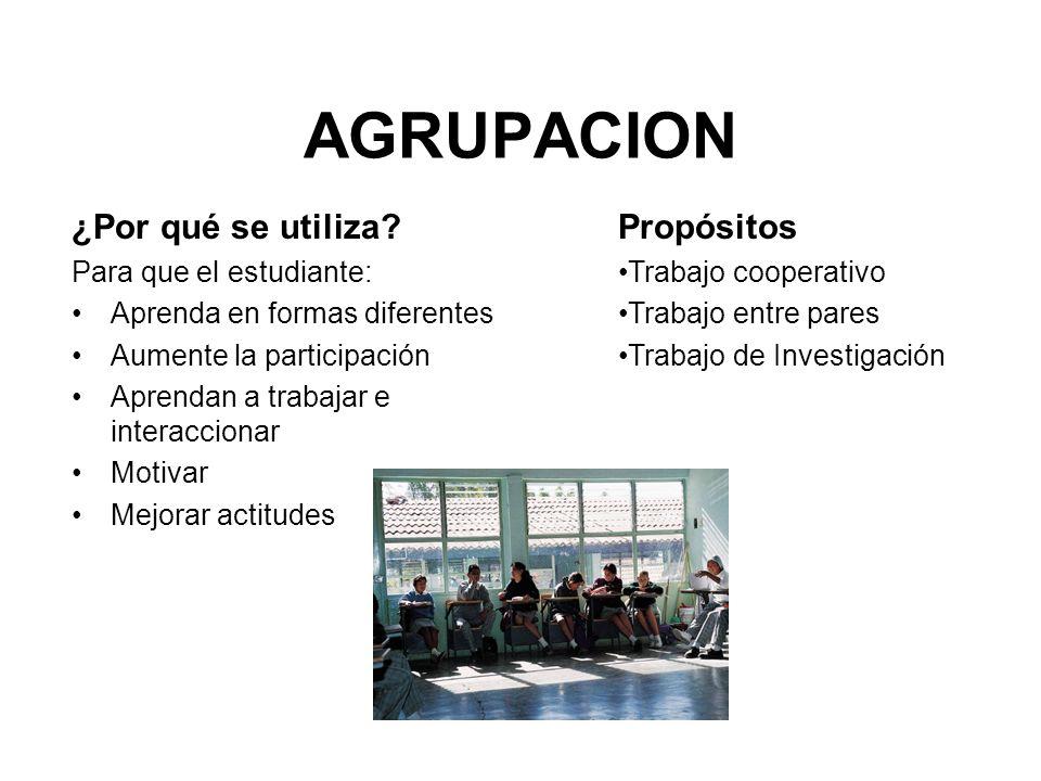 AGRUPACION ¿Por qué se utiliza? Para que el estudiante: Aprenda en formas diferentes Aumente la participación Aprendan a trabajar e interaccionar Moti