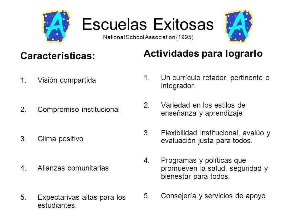 Escuelas Exitosas National School Association (1995) Características: 1.Visión compartida 2.Compromiso institucional 3.Clima positivo 4.Alianzas comun