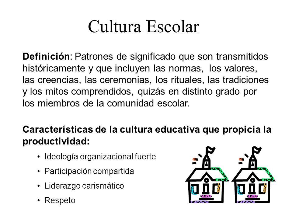 Cultura Escolar Definición: Patrones de significado que son transmitidos históricamente y que incluyen las normas, los valores, las creencias, las cer