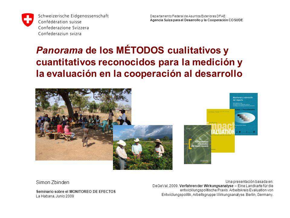 1/22 Panorama de los MÉTODOS cualitativos y cuantitativos reconocidos para la medición y la evaluación en la cooperación al desarrollo Departamento Fe
