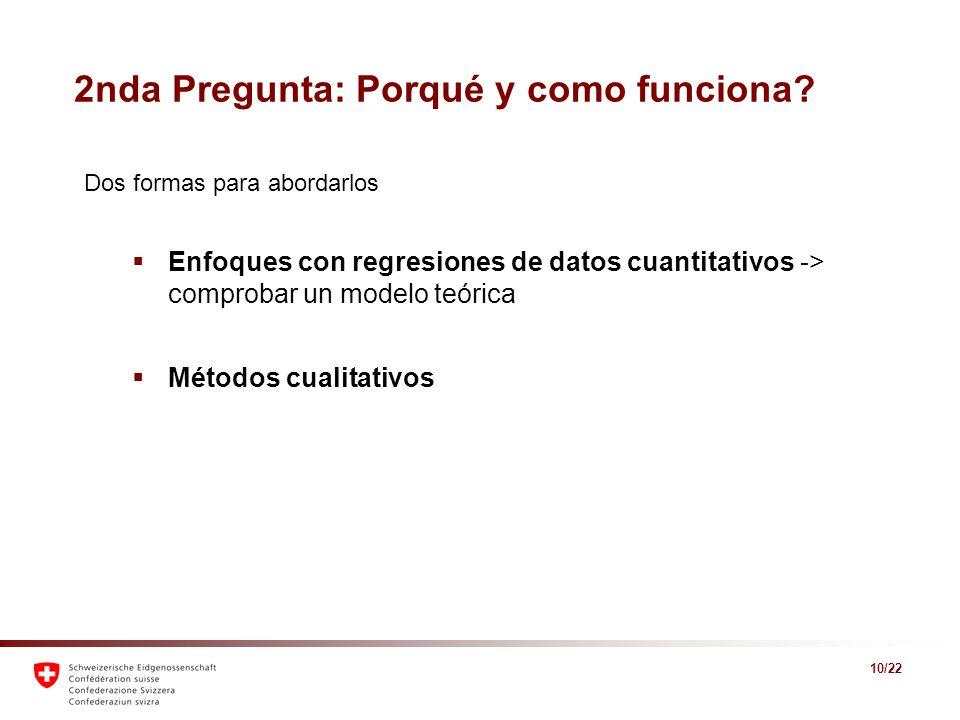 10/22 2nda Pregunta: Porqué y como funciona? Dos formas para abordarlos Enfoques con regresiones de datos cuantitativos -> comprobar un modelo teórica