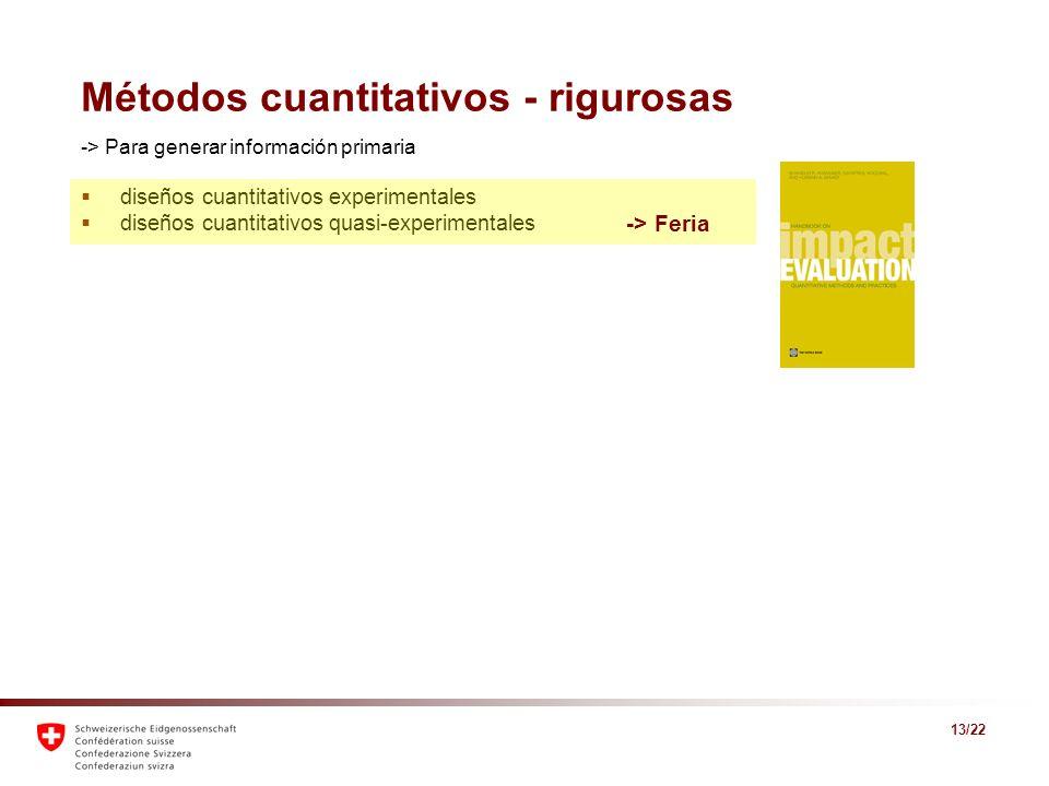 13/22 Métodos cuantitativos - rigurosas -> Para generar información primaria diseños cuantitativos experimentales diseños cuantitativos quasi-experime