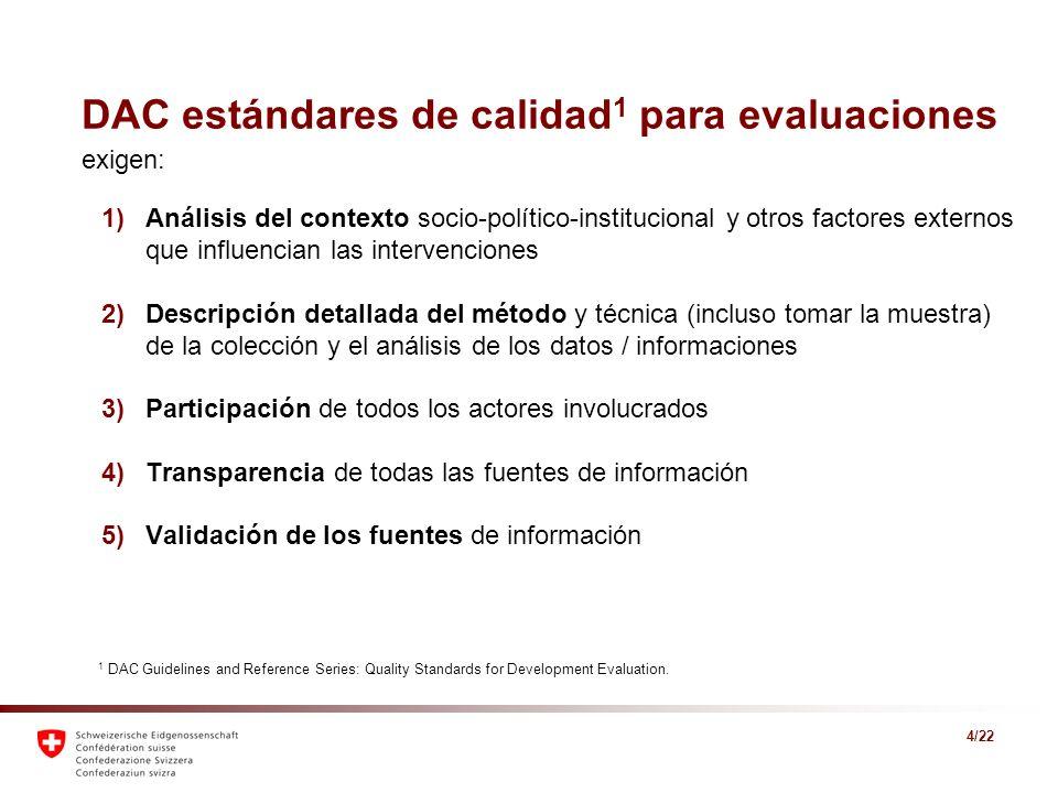 4/22 DAC estándares de calidad 1 para evaluaciones 1)Análisis del contexto socio-político-institucional y otros factores externos que influencian las