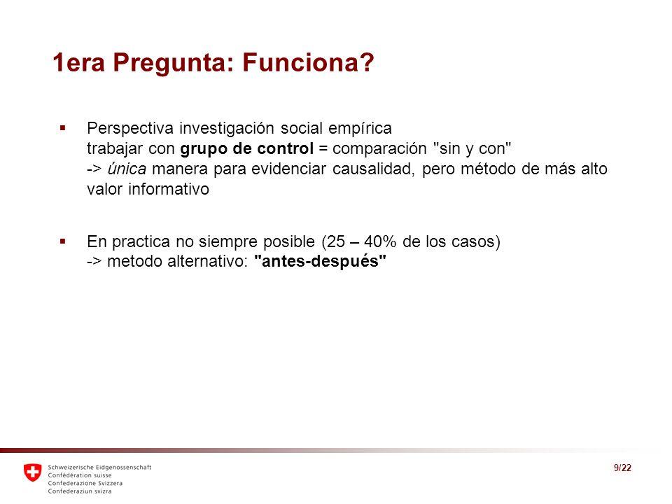 9/22 1era Pregunta: Funciona? Perspectiva investigación social empírica trabajar con grupo de control = comparación