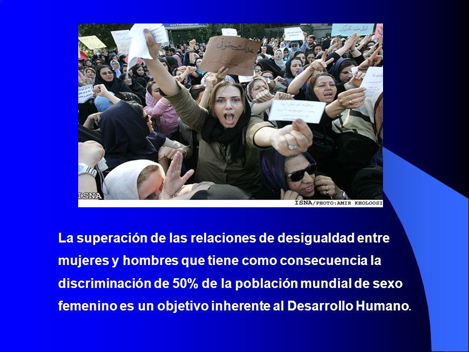 La superación de las relaciones de desigualdad entre mujeres y hombres que tiene como consecuencia la discriminación de 50% de la población mundial de