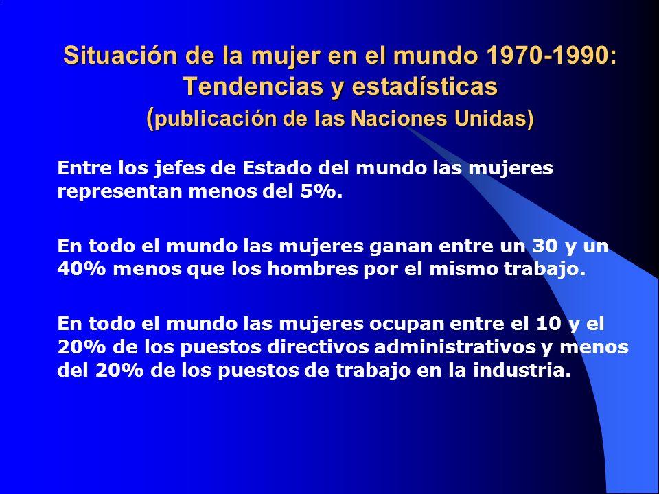 Situación de la mujer en el mundo 1970-1990: Tendencias y estadísticas ( publicación de las Naciones Unidas) Entre los jefes de Estado del mundo las m