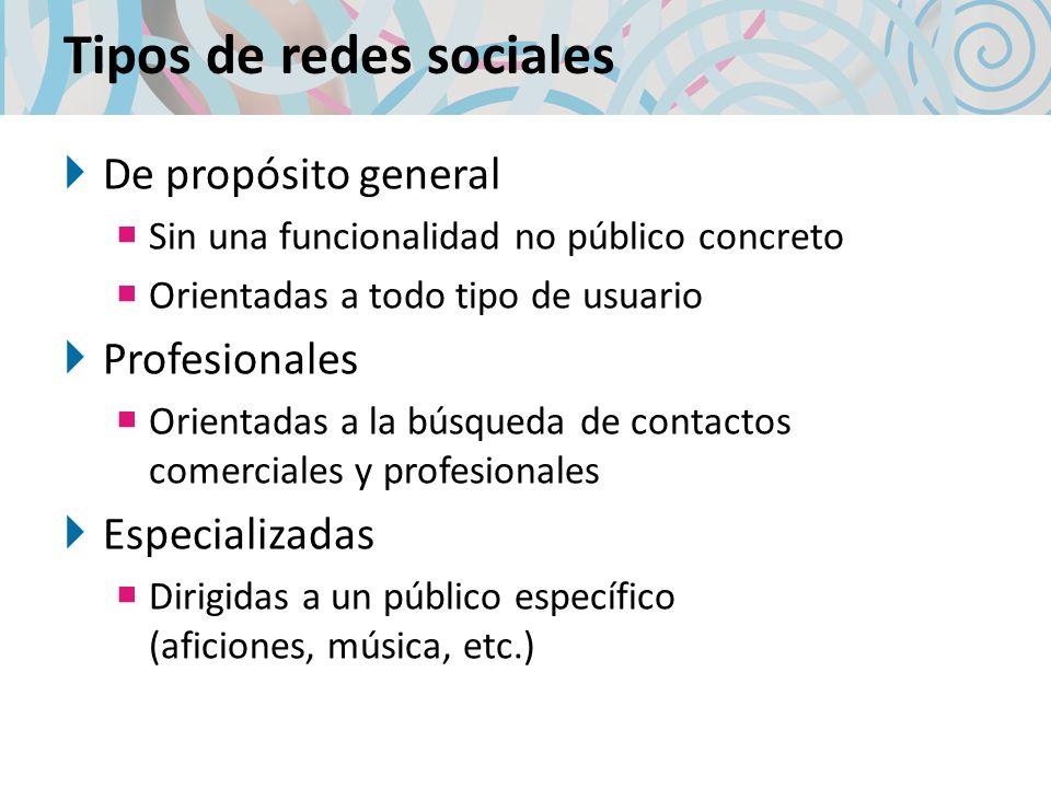Tipos de redes sociales De propósito general Sin una funcionalidad no público concreto Orientadas a todo tipo de usuario Profesionales Orientadas a la búsqueda de contactos comerciales y profesionales Especializadas Dirigidas a un público específico (aficiones, música, etc.)