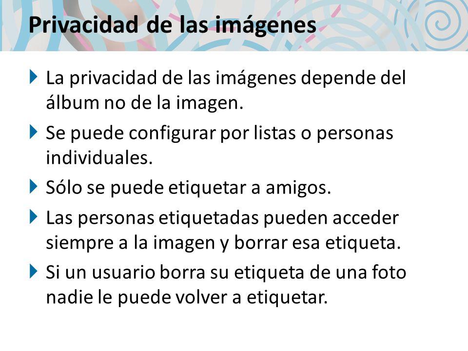 Privacidad de las imágenes La privacidad de las imágenes depende del álbum no de la imagen.