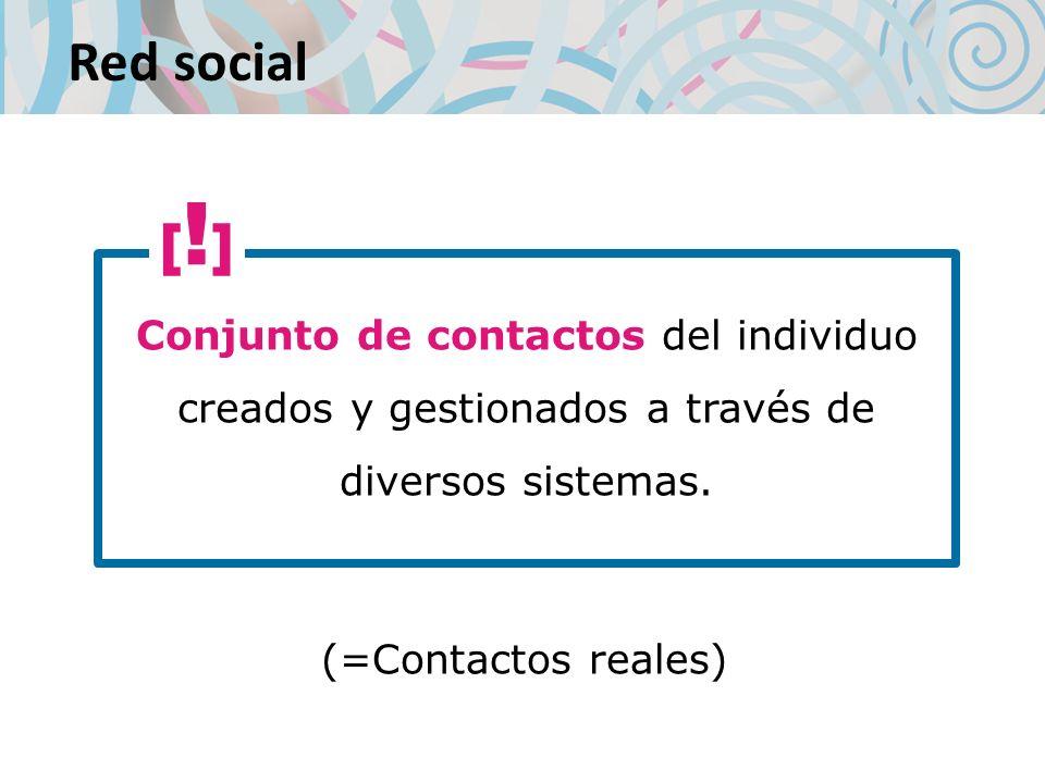 Red social Conjunto de contactos del individuo creados y gestionados a través de diversos sistemas.