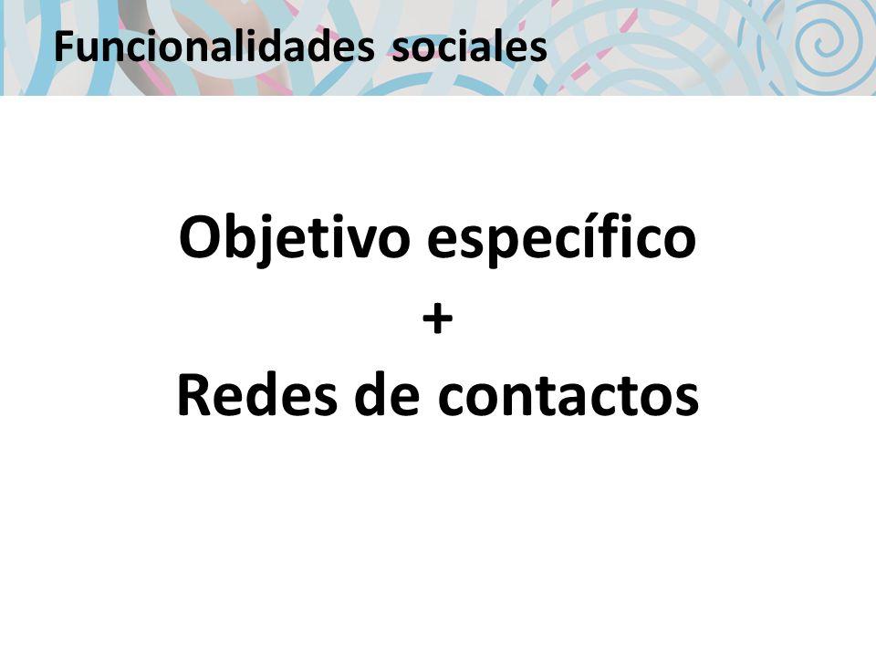 Funcionalidades sociales Objetivo específico + Redes de contactos