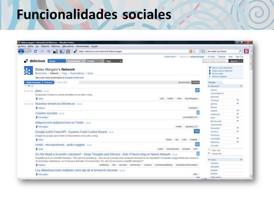 Funcionalidades sociales