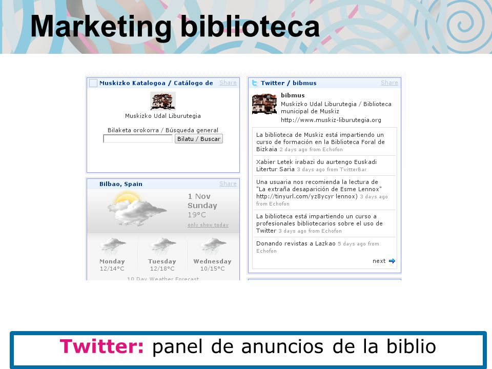Marketing biblioteca Twitter: panel de anuncios de la biblio