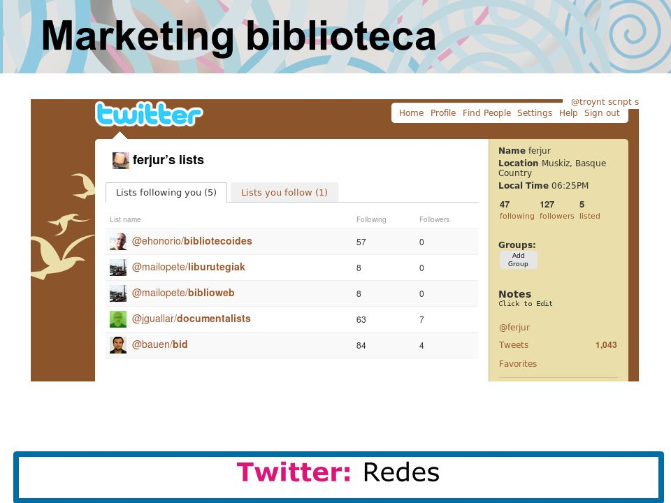 Marketing biblioteca Twitter: Redes