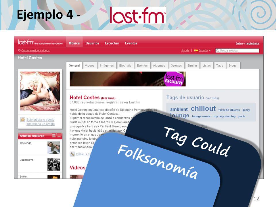 Ejemplo 4 - 12 Tag Could Folksonomía