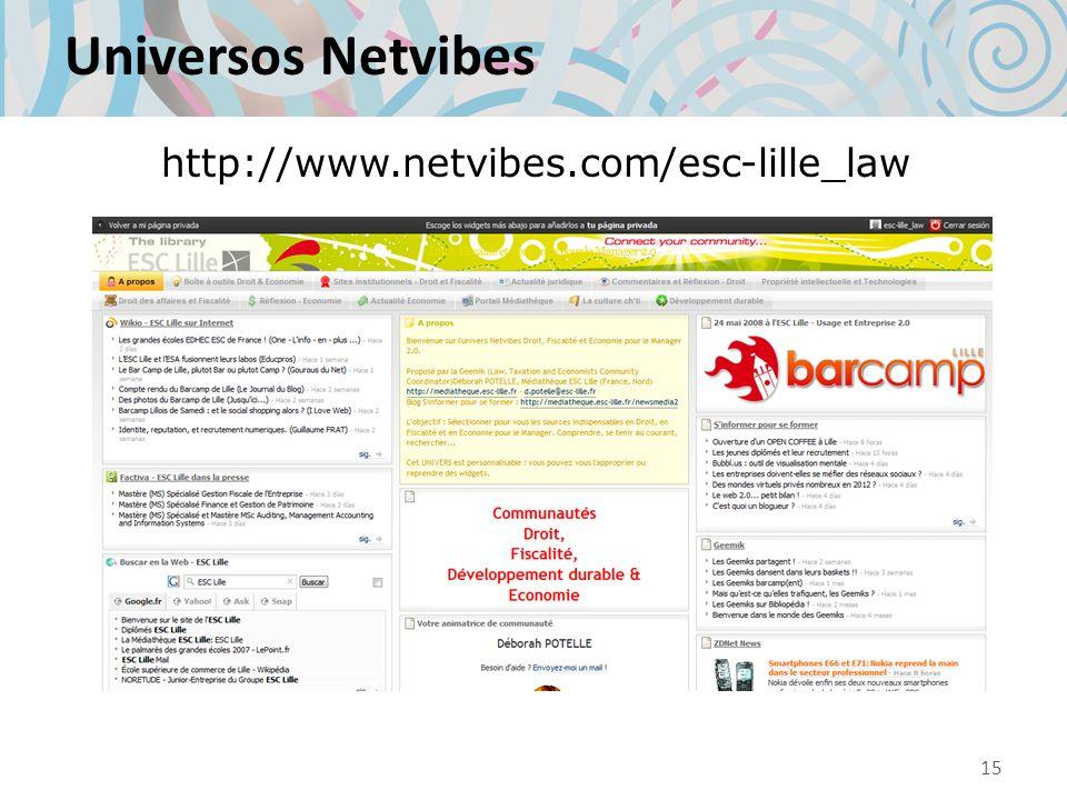 Universos Netvibes http://www.netvibes.com/esc-lille_law 15