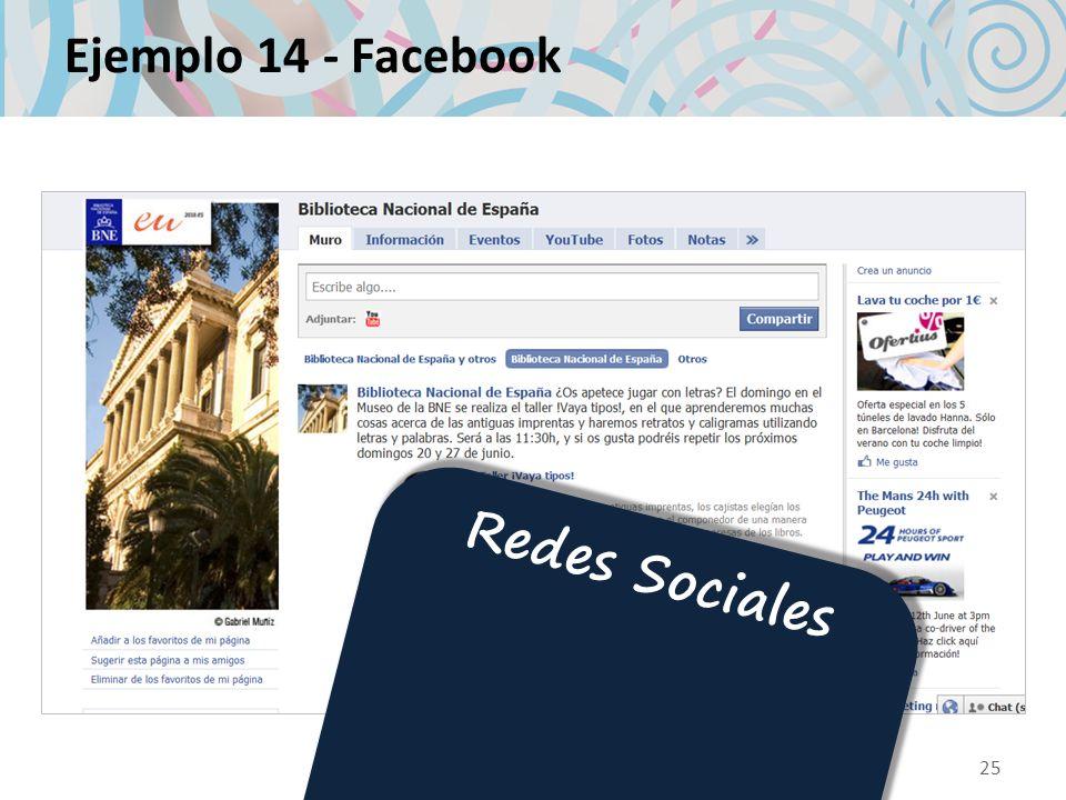 Ejemplo 14 - Facebook 25 Redes Sociales
