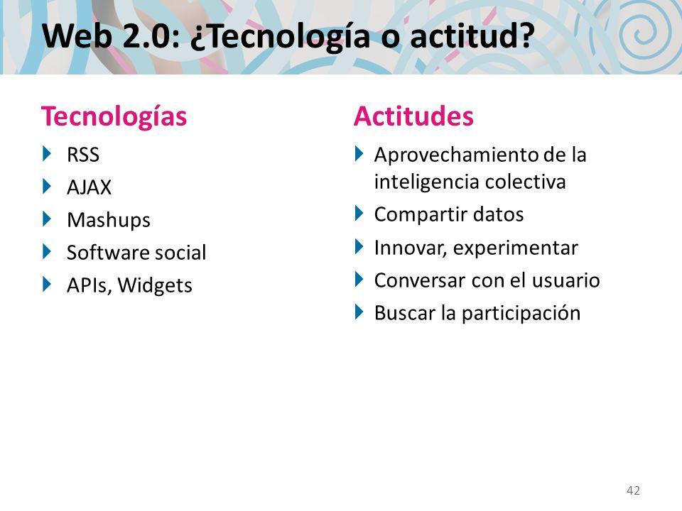 Web 2.0: ¿Tecnología o actitud? Tecnologías RSS AJAX Mashups Software social APIs, Widgets Actitudes Aprovechamiento de la inteligencia colectiva Comp