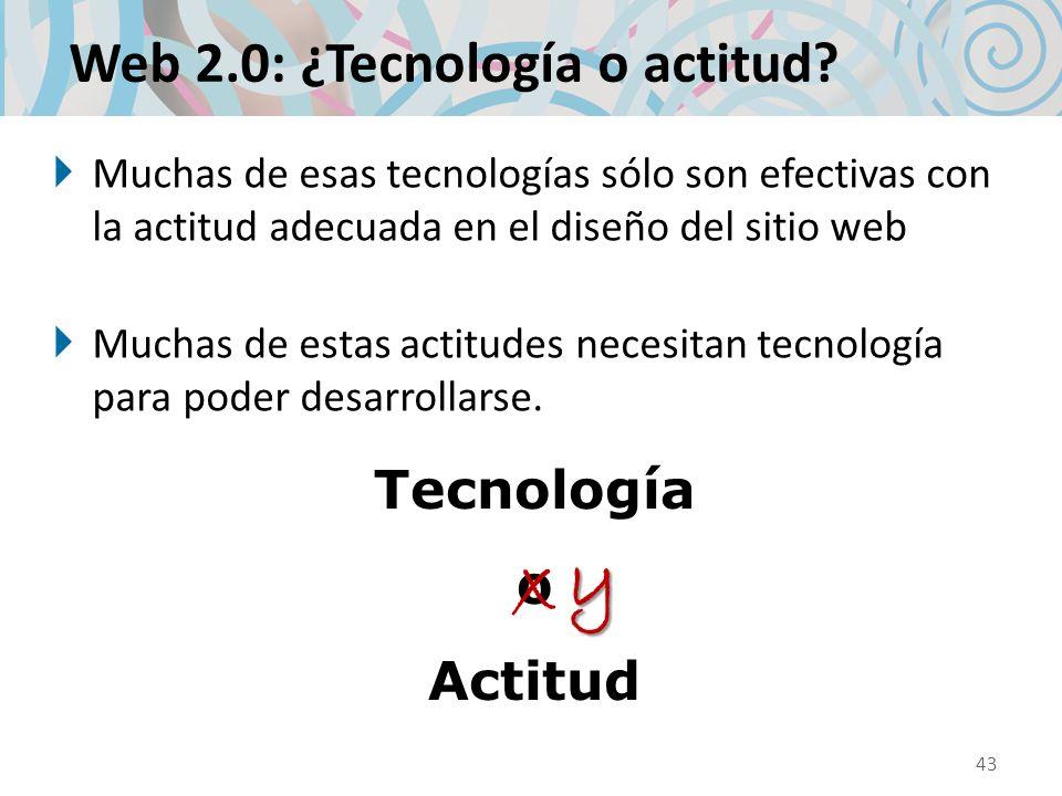 Web 2.0: ¿Tecnología o actitud? Muchas de esas tecnologías sólo son efectivas con la actitud adecuada en el diseño del sitio web Muchas de estas actit
