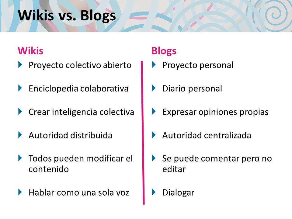 Wikis vs. Blogs Wikis Proyecto colectivo abierto Enciclopedia colaborativa Crear inteligencia colectiva Autoridad distribuida Todos pueden modificar e