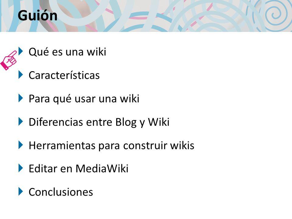 Definición de Wiki Son sitios web formados por artículos editados colaborativamente por varios autores a través de sus navegadores web.