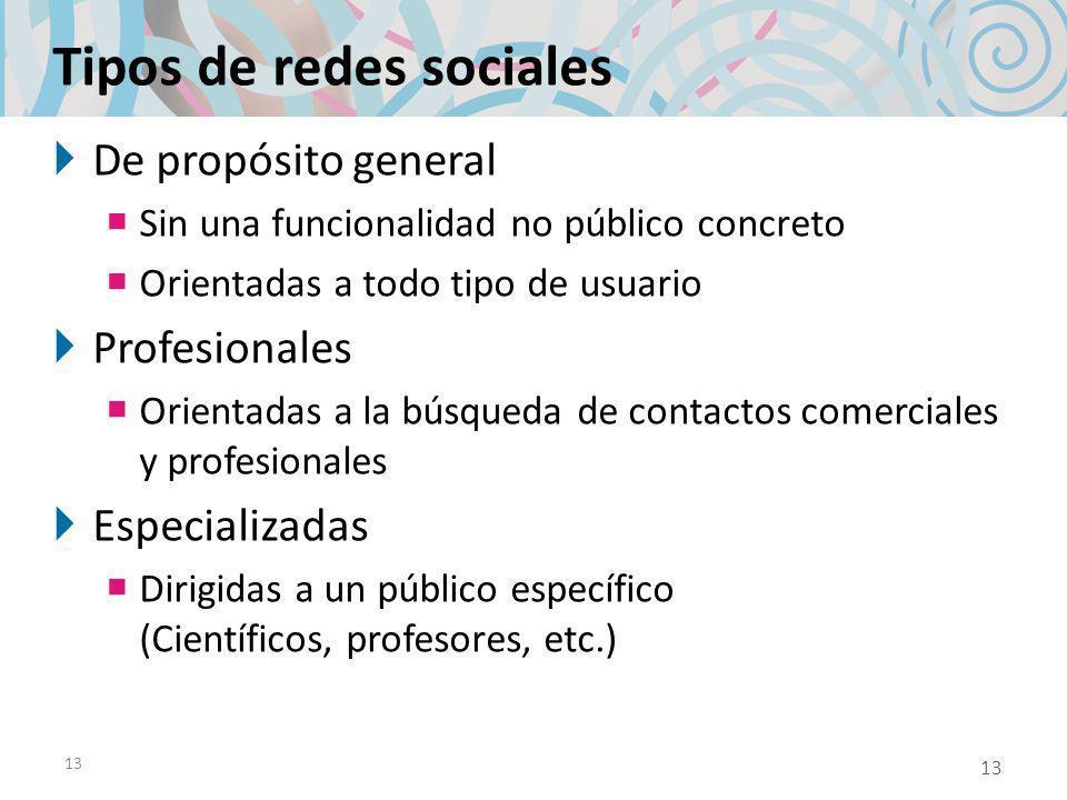 13 Tipos de redes sociales De propósito general Sin una funcionalidad no público concreto Orientadas a todo tipo de usuario Profesionales Orientadas a la búsqueda de contactos comerciales y profesionales Especializadas Dirigidas a un público específico (Científicos, profesores, etc.) 13