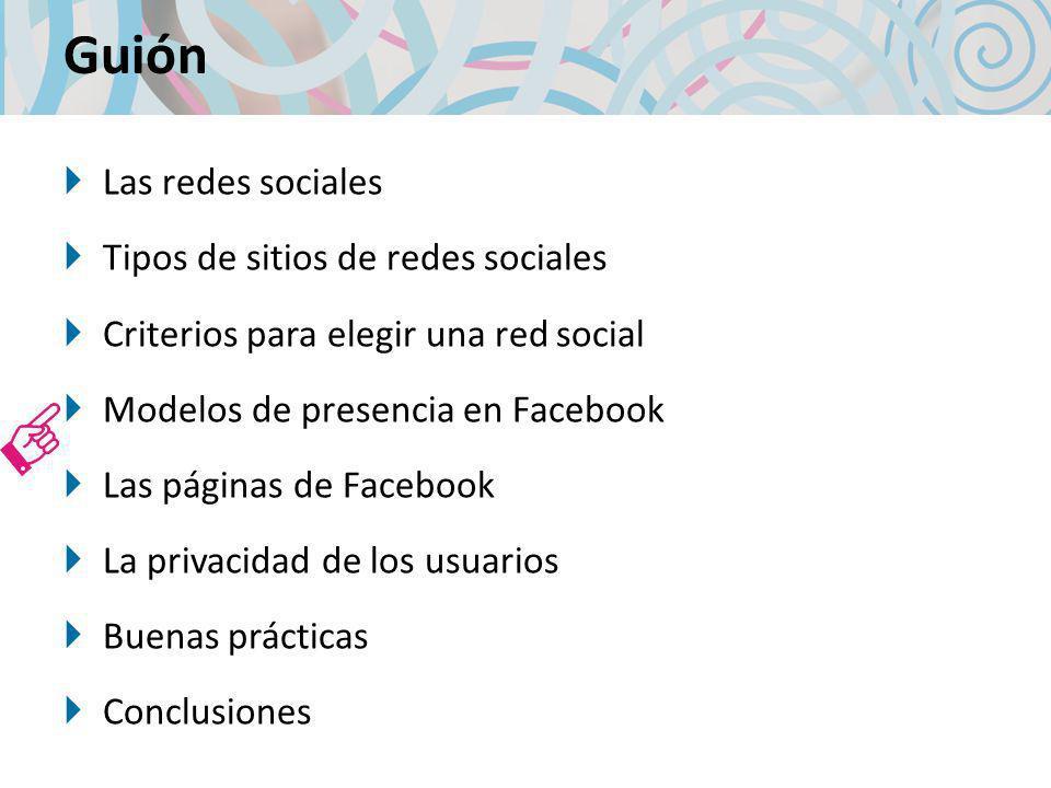 Guión Las redes sociales Tipos de sitios de redes sociales Criterios para elegir una red social Modelos de presencia en Facebook Las páginas de Facebo