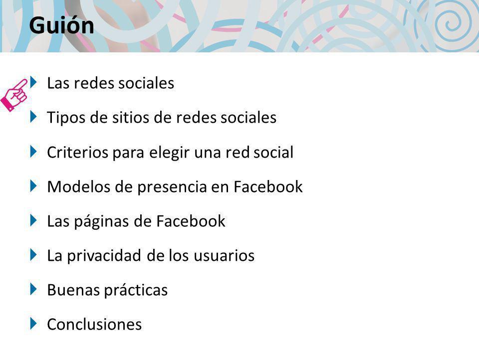 Guión Las redes sociales Tipos de sitios de redes sociales Criterios para elegir una red social Modelos de presencia en Facebook Las páginas de Facebook La privacidad de los usuarios Buenas prácticas Conclusiones