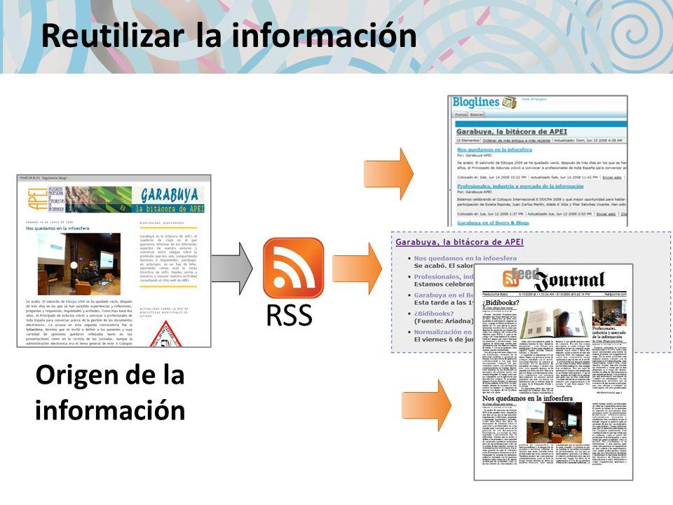Reutilizar la información Origen de la información RSS