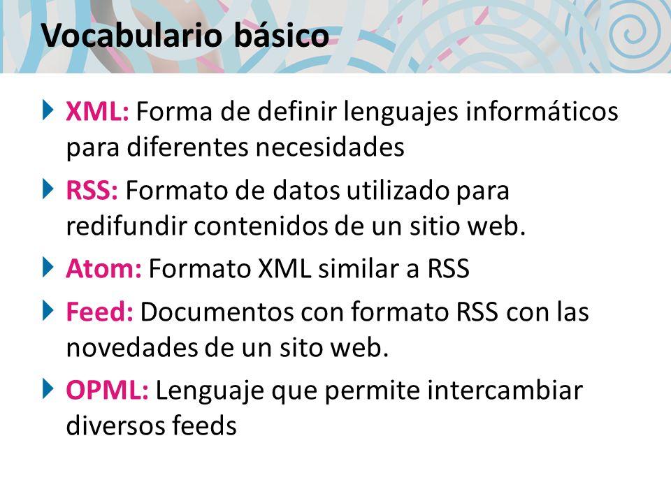 Vocabulario básico XML: Forma de definir lenguajes informáticos para diferentes necesidades RSS: Formato de datos utilizado para redifundir contenidos de un sitio web.