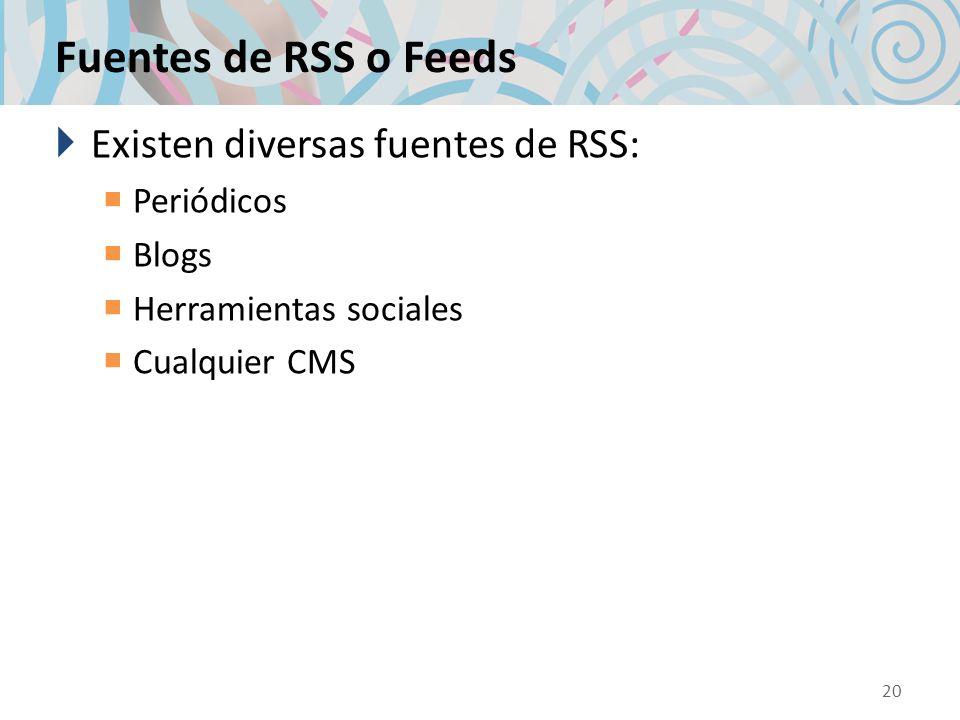 Fuentes de RSS o Feeds Existen diversas fuentes de RSS: Periódicos Blogs Herramientas sociales Cualquier CMS 20