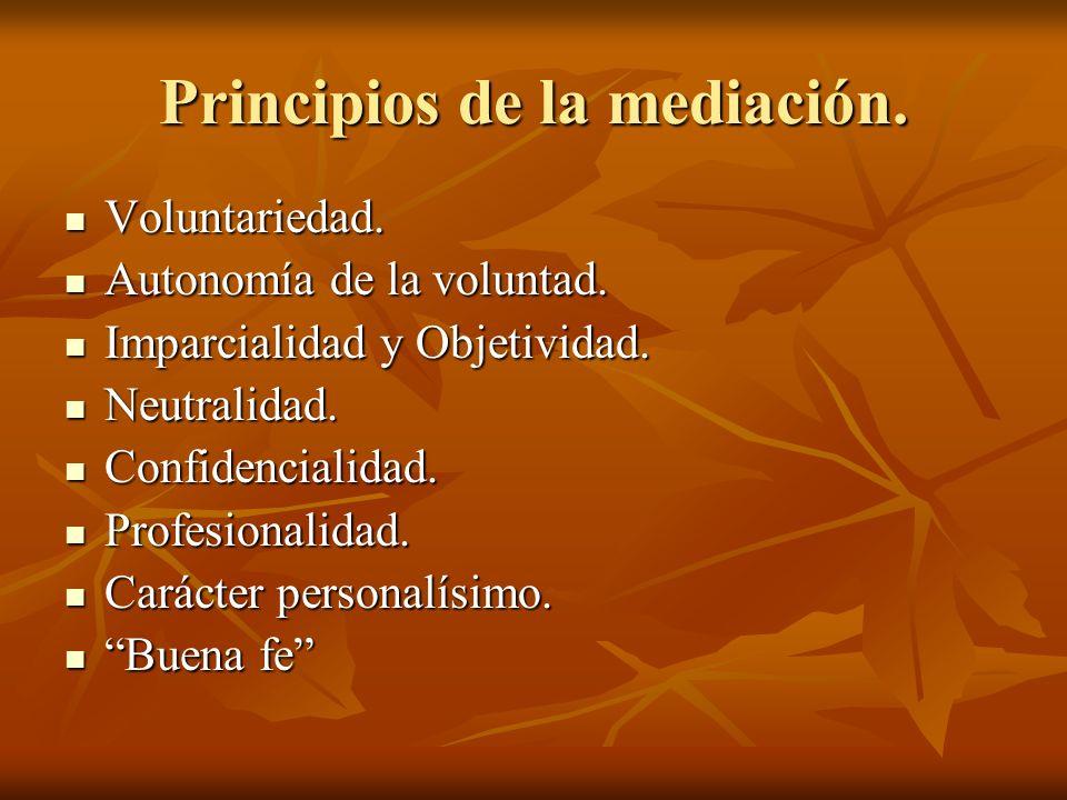 Principios de la mediación. Voluntariedad. Voluntariedad. Autonomía de la voluntad. Autonomía de la voluntad. Imparcialidad y Objetividad. Imparcialid