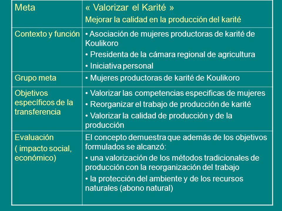 Meta« Valorizar el Karité » Mejorar la calidad en la producción del karité Contexto y función Asociación de mujeres productoras de karité de Koulikoro