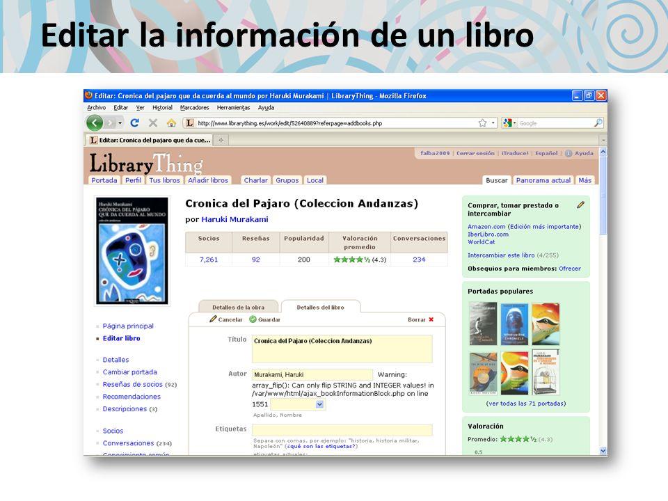 Editar la información de un libro