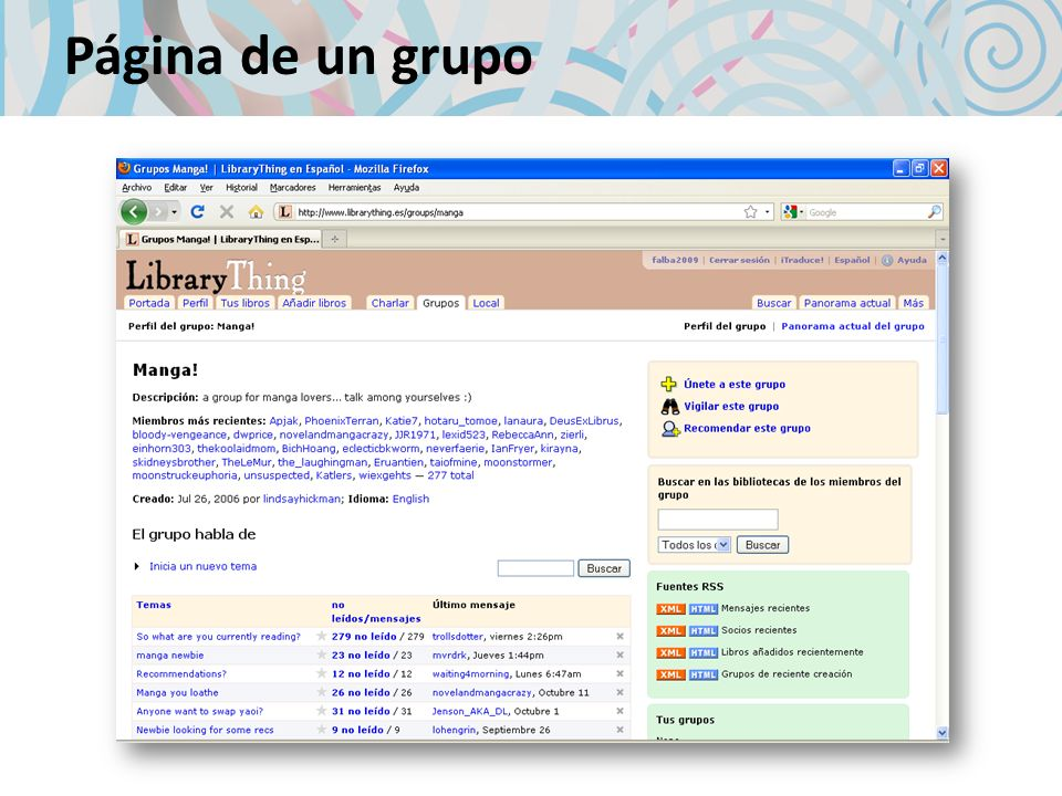 Página de un grupo