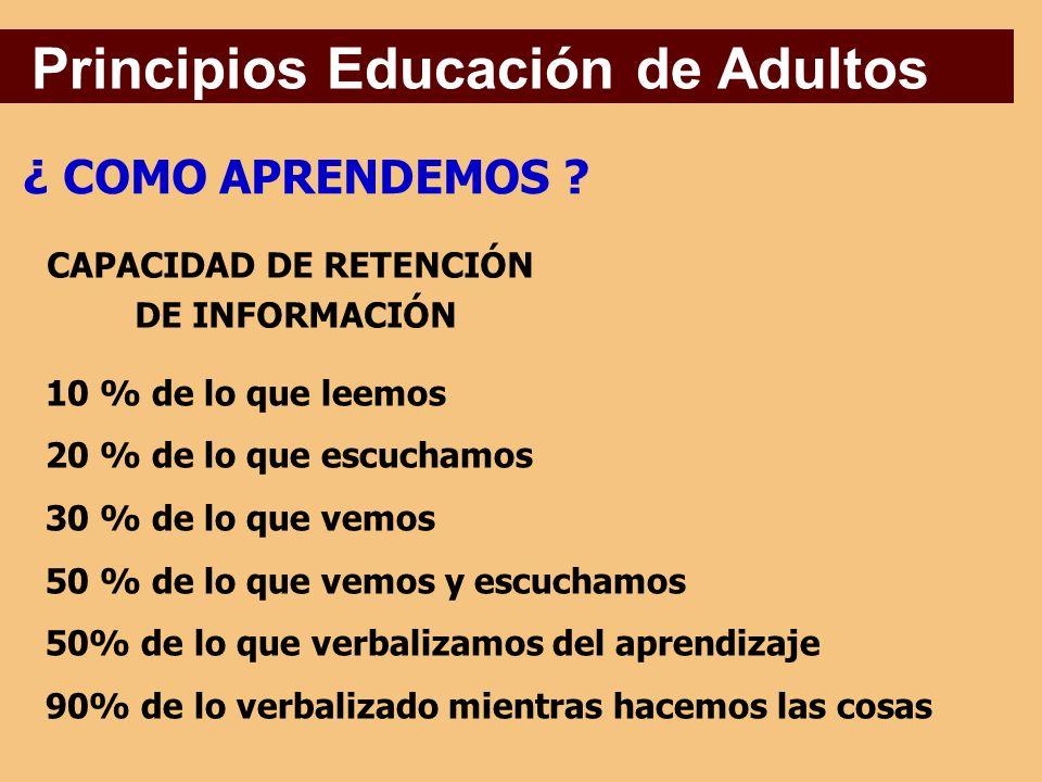 Principios Educación de Adultos ¿ COMO APRENDEMOS .