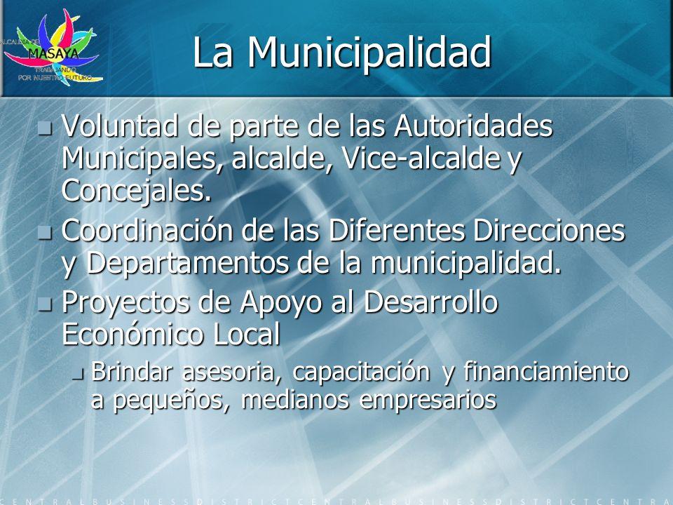 La Municipalidad Voluntad de parte de las Autoridades Municipales, alcalde, Vice-alcalde y Concejales. Voluntad de parte de las Autoridades Municipale