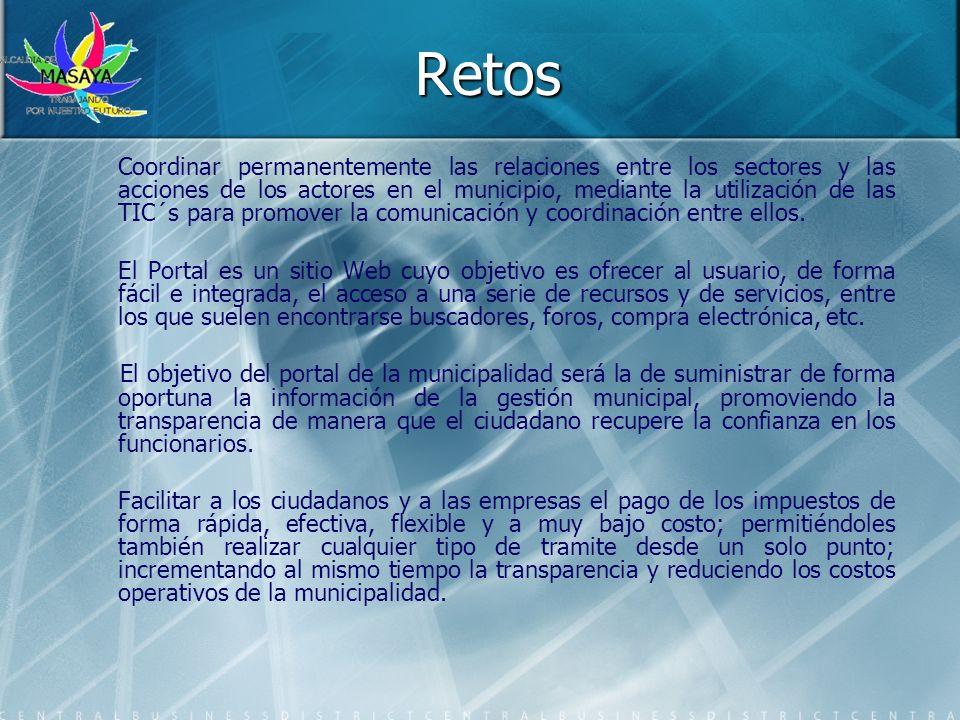 Retos Coordinar permanentemente las relaciones entre los sectores y las acciones de los actores en el municipio, mediante la utilización de las TIC´s