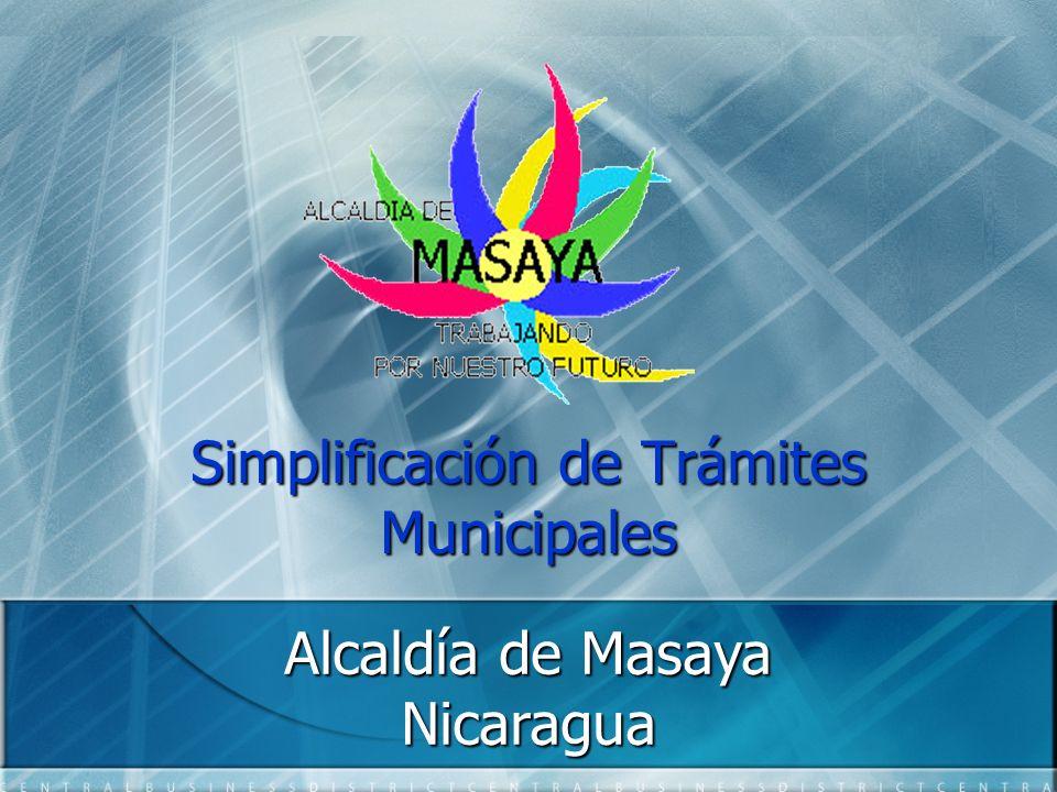 Simplificación de Trámites Municipales Alcaldía de Masaya Nicaragua