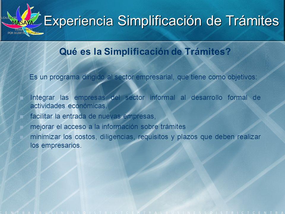 Qué es la Simplificación de Trámites? Es un programa dirigido al sector empresarial, que tiene como objetivos: Integrar las empresas del sector inform