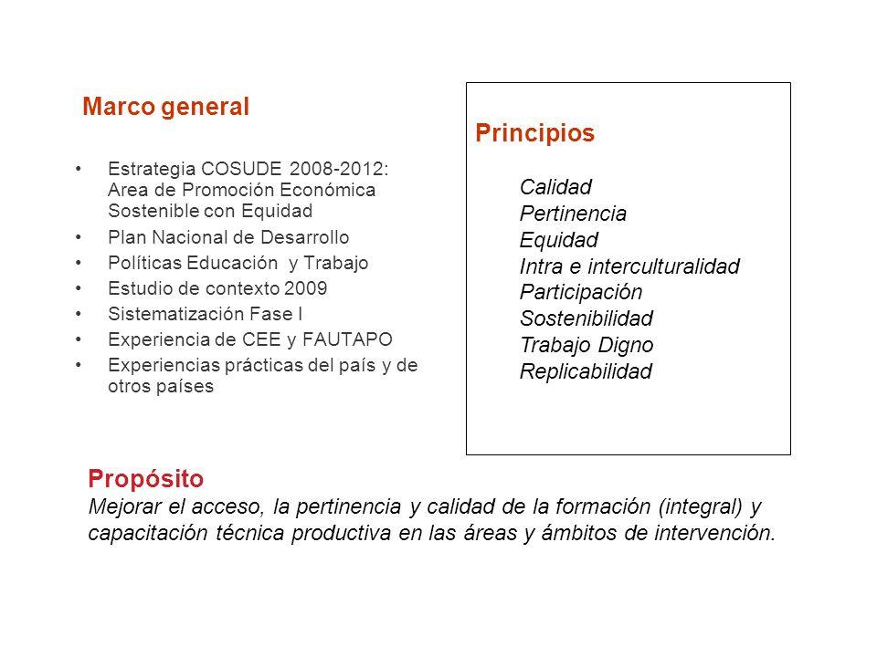 Estrategia COSUDE 2008-2012: Area de Promoción Económica Sostenible con Equidad Plan Nacional de Desarrollo Políticas Educación y Trabajo Estudio de c