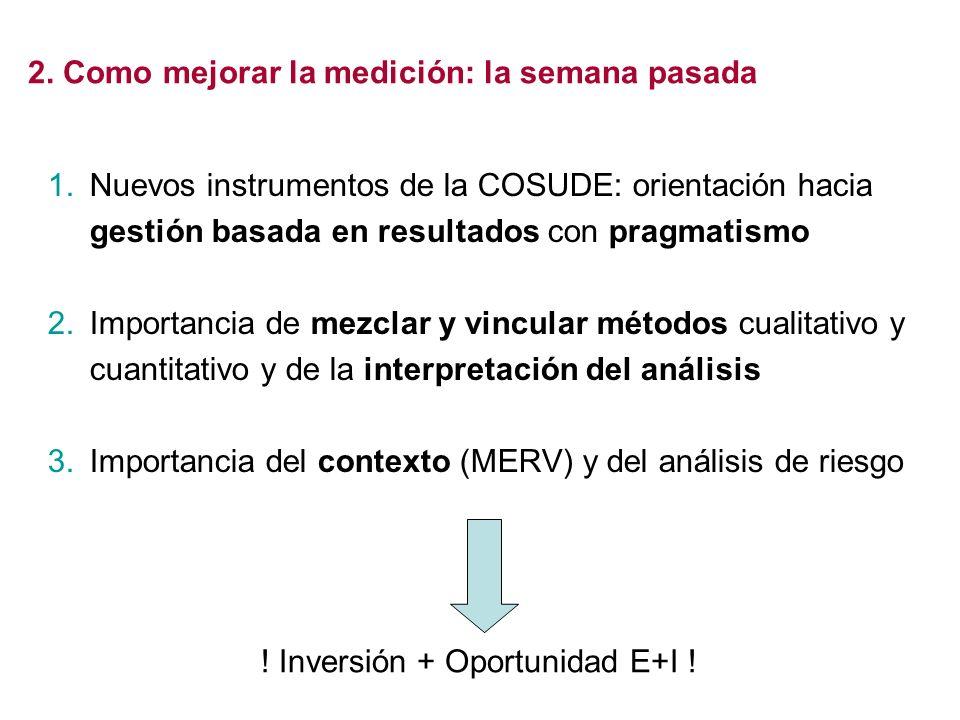 1.Nuevos instrumentos de la COSUDE: orientación hacia gestión basada en resultados con pragmatismo 2.Importancia de mezclar y vincular métodos cualita