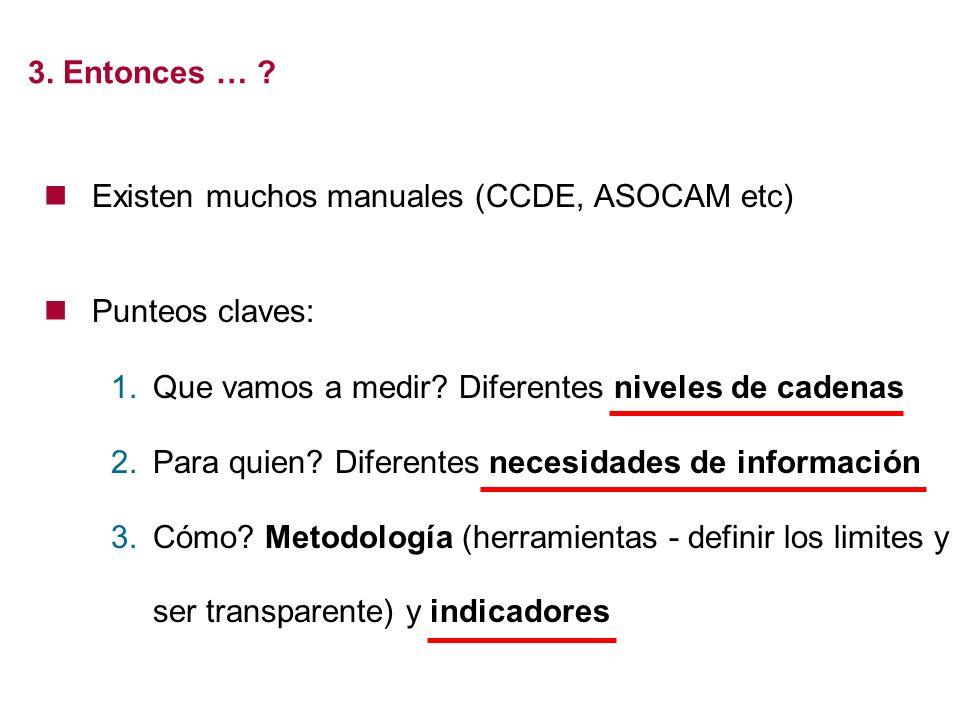 Existen muchos manuales (CCDE, ASOCAM etc) Punteos claves: 1.Que vamos a medir? Diferentes niveles de cadenas 2.Para quien? Diferentes necesidades de